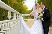 Постер, плакат: Красочные Свадебные выстрела невесты и жениха стоя на мосту