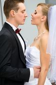 pic of wedding couple  - Vivid wedding shot of young bride and groom - JPG