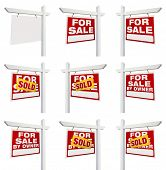 Complete Set of Real Estate Signs with For Sale, Sold, For Sale By Owner and Blank Isolated on White poster