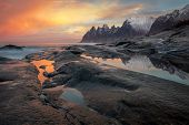 Great Dramatic Sky, Seascape, Landscape. Wild Northern nature. Large size. Norway, Senja island poster