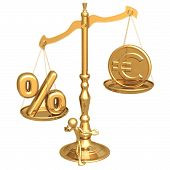 Unbalanced Golden Scale Percentage And Gold Euro Coin poster