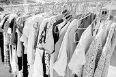 Clothing on display racks; Koh Pha Ngan; Thailand poster