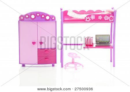Doll Wardrobe , Bed, Chair And Laptop Isolated On White
