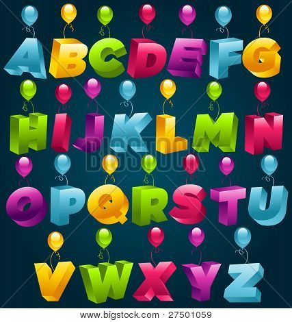 Party Alphabet with Colorful Balloons