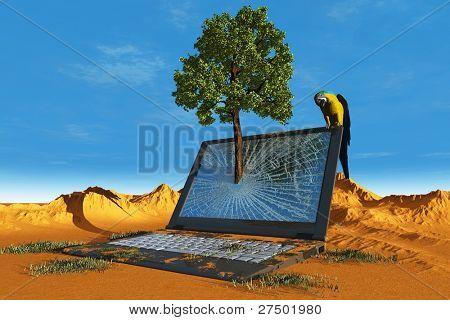 The laptop in the desert.