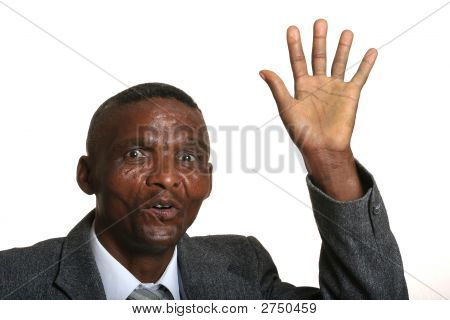 Waving African Businessman