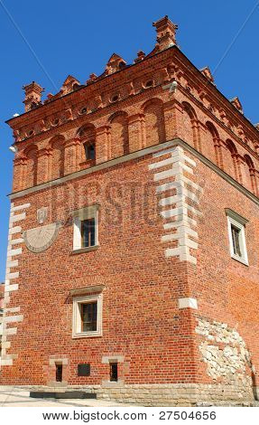 Old town hall in Sandomierz, Poland. The town hall was build in the XIV century and the tower was build in the XVII century.