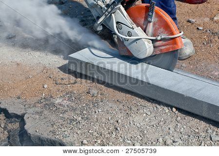 Cutting works with petrol driven angle grinder