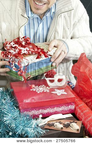 Man Wraps Presents