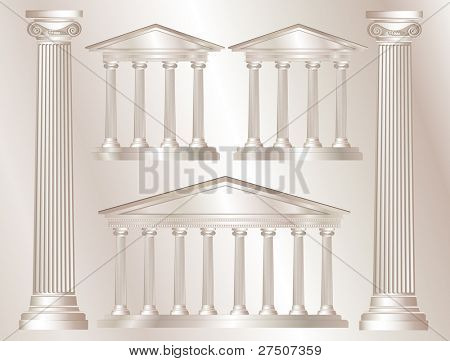 A vector illustration of a classical style white marble temples and pillars. Marble style background. Also available in vector format