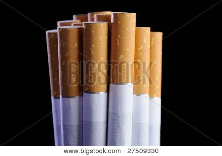 Bunch Of Cigarettes On Black Background