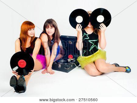 Three pretty girls with gramophone