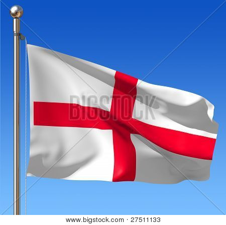 Flag of England against blue sky.