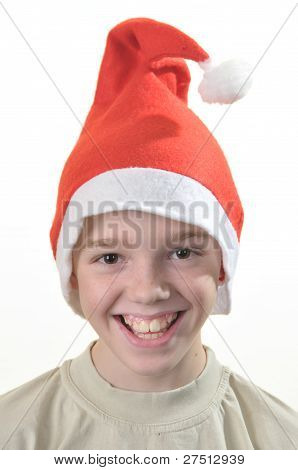 Happy Boy In Santa's Hat.