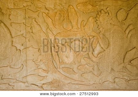 Ancient sea creatures carving, Cambodia
