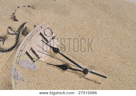 Wall Clock In The Sand