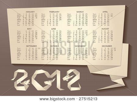 Calendar - Dragon Origami 2012 Year