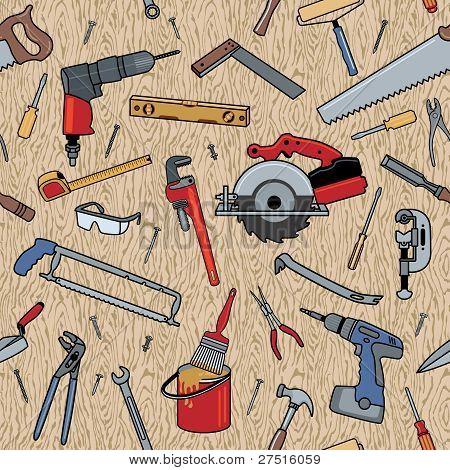 Tools On Wood Pattern
