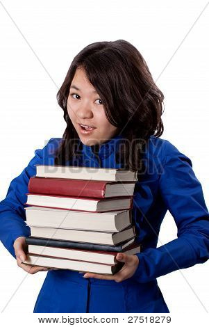 Young asian Girl with books