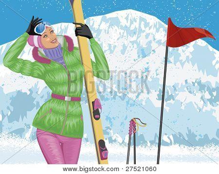Hermosa esquiador con esquíes en la cima de montaña Nevada