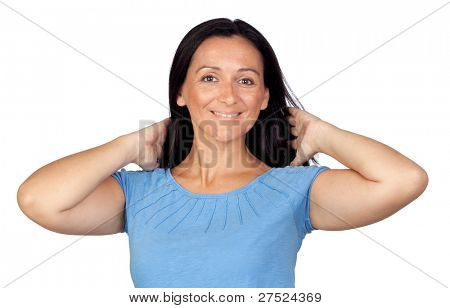 Adorable woman combing her hair isolated on a over white background