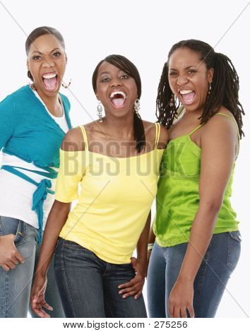 Three Friends Shouting