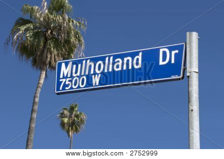 Mulholland Drive Sign W/Palms