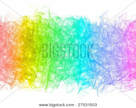 Abstract Colorful Smoke Swirl On White