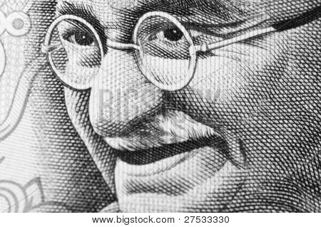 close up Shot von Gandhi auf Rupien note