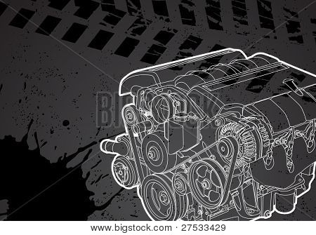 Vector illustration of a engine on white background