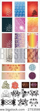Set of Beautiful Floral Pattern - elements for fabric samples or romantic decoration