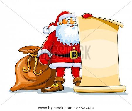 santa claus stand and keep scroll paper vector illustration isolated on white background