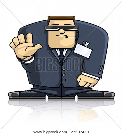 security man in suit and goggles vector illustration isolated on white background
