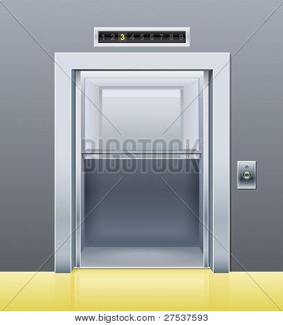 elevator with opened door vector illustration