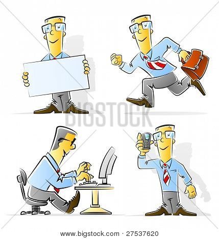 set of cartoon businessman vector illustration isolated on white background