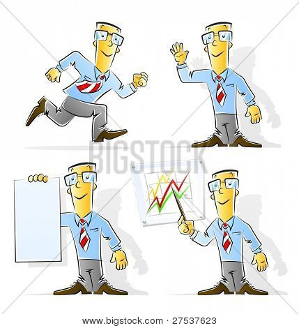 set of cartoon businessman vector illustration isolated on white background