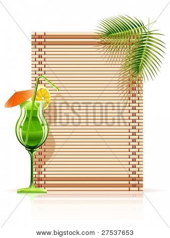 bamboo mat palm cocktail vector illustration isolated on white background