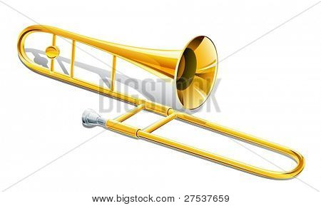 trombone musical instrument vector illustration isolated on white background