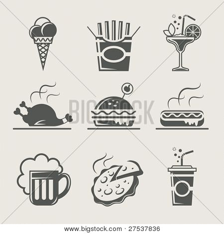 fast food and drink set of icon vector illustration
