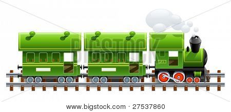 green retro locomotive with coach vector illustration isolated on white background