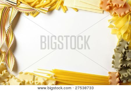 decorative frame built of various italian pasta