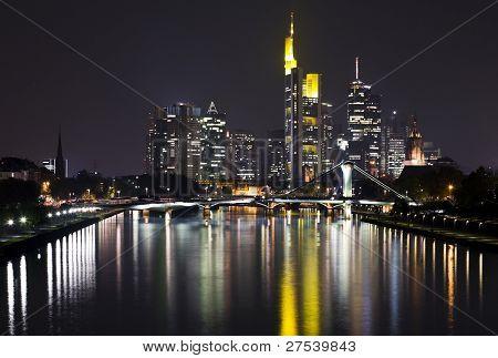 financial district of Frankfurt and Main river at night