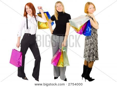 Three Shopping Woman Isolated