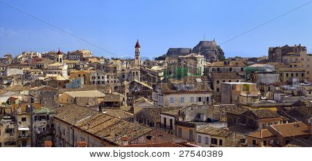 panoramic view of Corfu Town with old fortress and church of Agios Spiridonas