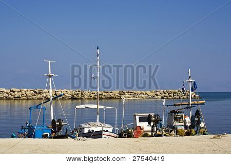 fisher boats at the harbor of Agios Stefanos, Corfu, Greece