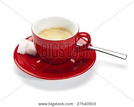 red cup on saucer filled with espresso, with spoon and sugar cubes