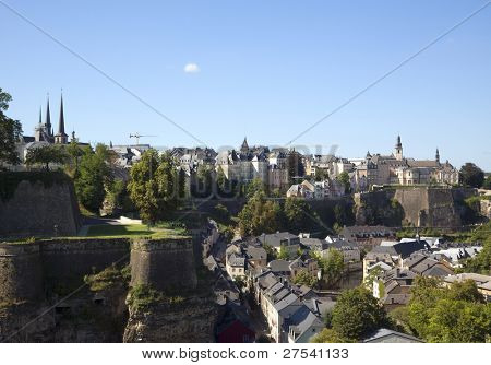 view across the lower town to the upper town of Luxembourg