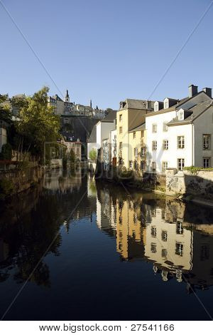 view from Grund quarter on the river Alzette to the Passerelle wall and the uptown of Luxembourg