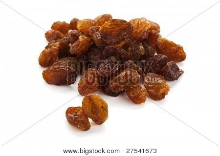 heap of sultana raisins on white background