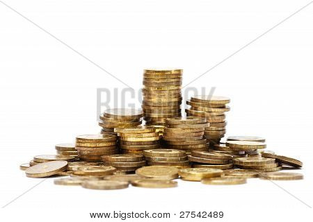 Pile And Stacks Of Golden Coins